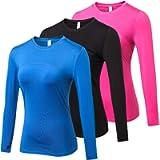 Yuerlian 3 Pack Womens Long Sleeve Performance Base Layer Sports Running Training Top