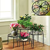 #9: NAYAB | 4 in 1 Floral Metal Potted Plant Stand Floor Flower Pot Rack/ Iron Plant Stands / Pot Stands/ Planter Stands | Scroll Pattern (Black)