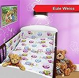 Baby Bettset 135x100 Wunderschöne Kinderbettwäsche Nestchen Bettuch Babybett NEU (4-teilig Betttuch Hörnchen, Eule Weiss)