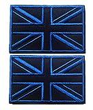 Tacvasen, 2pezzi, toppa ricamata, motivo bandiera del Regno Unito, Uomo, Black Blue