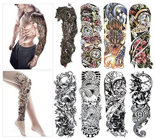Tatuajes temporales de modatamaño brazo, calcomanías para hombre y mujer, impermeables, no permanentes, no tóxicos y seguros para todos los tipos de piel, 8láminas