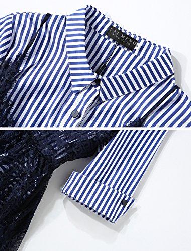 LAI MENG Damen 1/2 Ärmel Blau Gestreiftes Hemdkleid mit Trägerkleid aus Spitzen 2 Stück Set Kleid Blau