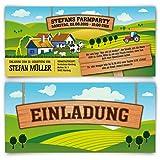 Geburtstagseinladungen (40 Stück) Bauernhof Traktor Farm Hof Acker Felder Landwirt Bauer