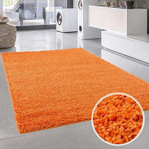 Shaggy-Teppich, Flauschiger Hochflor Wohn-Teppich, Einfarbig/ Uni in Orange für Wohnzimmer, Schlafzimmmer, Kinderzimmer, Esszimmer, Größe: Läufer 80 x 150 cm