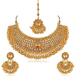 I Jewels Traditional Choker Bridal Necklace Set Jewellery for Women