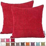 comoco® -2pcs Farbe Big Mais gestreift Dick Cord Deko Kissen Bezug für Sofa erhältlich in 15Farben und 7Größen, rot, 55x55 cm