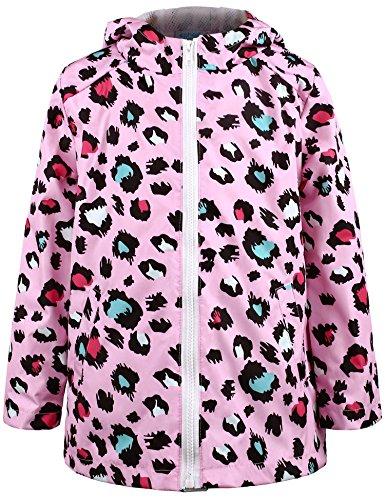 Ephex Little Kid Waterproof Leopard Print Coat Jacket Raincoat with Hooded 2-11Y
