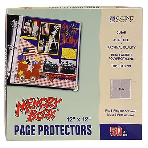 C-Line 30,5x 30,5cm 3–Bague Post utilisation mémoire livre relié avec dessus–Charge Page protecteurs–Transparent (Lot de 50)