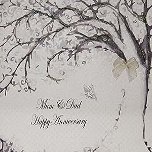 White Cotton Cards Code PD32 - Biglietto di auguri di anniversario per i genitori [lingua inglese]