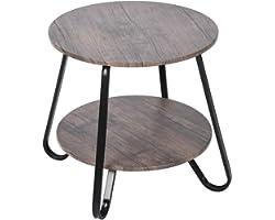 MEUBLE COSY Table Basse Ronde Table de Salon Table de Canapé Minimaliste Moderne Table D'appoint Ronde avec Rangement Scandin