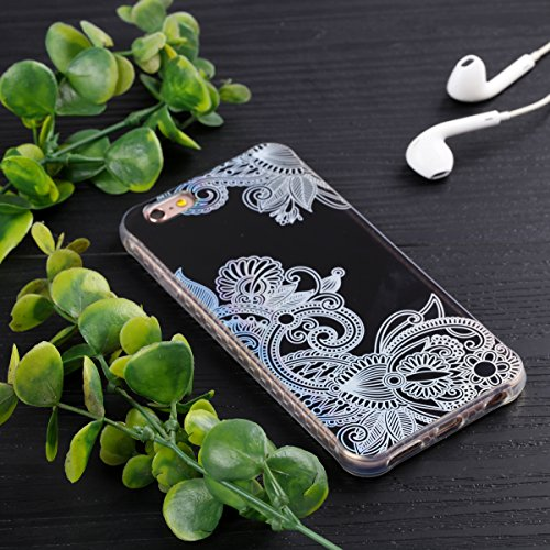 Custodia iPhone 6 Plus, iPhone 6S Plus Cover Silicone Trasparente, SainCat Cover per iPhone 6/6S Plus Custodia Silicone Morbido, Shock-Absorption Custodia Ultra Slim Transparent Silicone Case Ultra So Fiore Totem