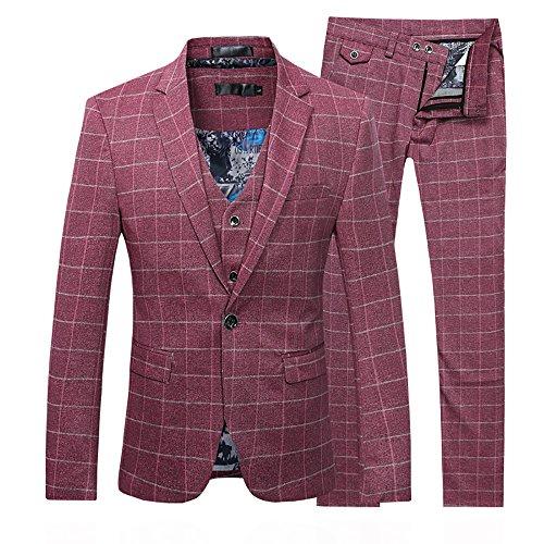 Set per completo da uomo, 3pezzi, giacca con gilet, papillon a quadretti e pantaloni, per (One Button Wool Blazer)