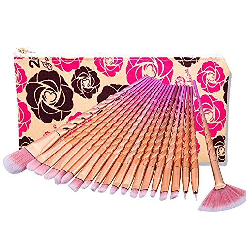 Yocitoy 20 pièces Ensemble de brosse à maquillage de licorne Professional Eye Eye Shadow Eyeliner Fondation Blush Lip Makeup Brushes Powder Liquid Cream Cosmetics Kit de brosses de mélange (sac de sac de couleur)