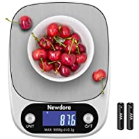 Newdora Bilancia da Cucina Smart Digitale con Funzione Tare 5kg 11 lbs Professionale Acciaio Inox Alta Precision Bilancia Elettronica per la Casa e la Cucina Argento  2 Batteries Incluse