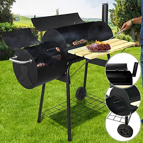 Barbecue a Carbonella 113/102/62cm | Trasportabile con 2 Ruote, 2 Scomparti di Fuoco, Acciaio, Nero | Griglia a Carbone, Grill Portatile, BBQ Smoker