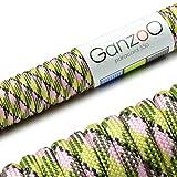 Paracord 550 Seil, 31 Meter, für Armband, Knüpfen von Hundeleine oder Hunde-Halsband zum selber machen / Seil mit 4mm Stärke / Mehrzweck-Seil / Survival-Seil / Parachute Cord belastbar bis 250kg (550lbs), Farbe: hellgrün, pink, schwarz, Marke Ganzoo