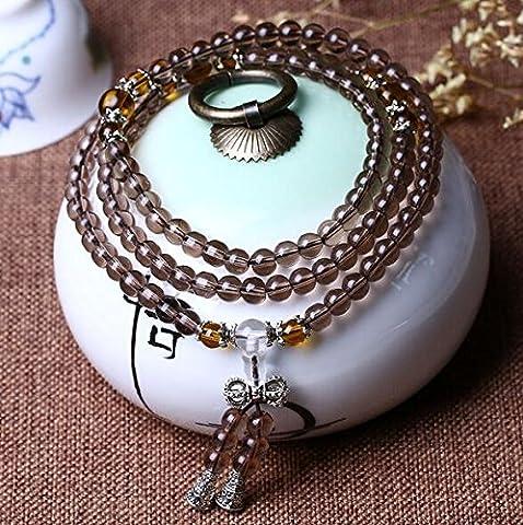 K&C Jewels 108 Beads Prayer Beads Bracelet Buddhist Vintage Style Mala Beads Bracelet Necklace Brown Yellow