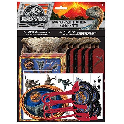 Unbekannt Jurassic World 48 Teiliges Spielset - 6 x Stück Verschiedene Spielsachen & Mitbringls für Kindergeburtstage