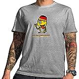 HARIZ  Pixbros Collection Herren T-Shirt Grau Designs Wählbar Deutschland Trikot WM EM Fahne Inkl Urkunde Bang Sticks Pixbros11: Schlandmoji XXL