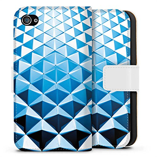 Apple iPhone X Silikon Hülle Case Schutzhülle Nieten Muster Silber Blau Sideflip Tasche weiß