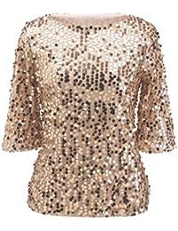 SHUNLIU Camisetas Mujer T-Shirt Blusas de Mujer Lentejuelas Camiseta y Blusas Verano