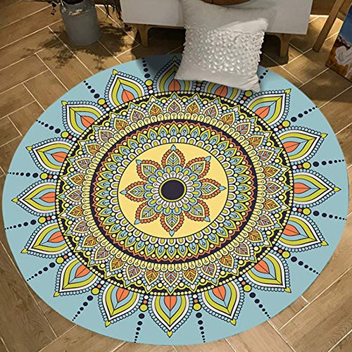 SXcarpet Alfombras Mandala Estera de Yoga Alfombras de guardarropas Alfombra de Silla de Piso Persa Alfombra Redonda Antideslizante para Sala de Estar,Color,90CM
