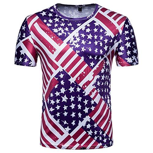 Cowboy-kragen Fußball (GreatestPAK T-Shirt Herren Sommer Top Fußball Druck T Stück Kurzarm Bluse,Blau,XXL)