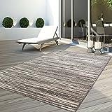 Teppich Flachflor Modern Outdoor fest Geknüpft Outside verschiedene Designs NEU, Größe in cm:160 x 230 cm;Sunset:Liniert-Beige