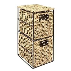 woodluv elite housewares aufbewahrungsbox aus seegras 2 schubladen ideal f r badezimmer b ro. Black Bedroom Furniture Sets. Home Design Ideas