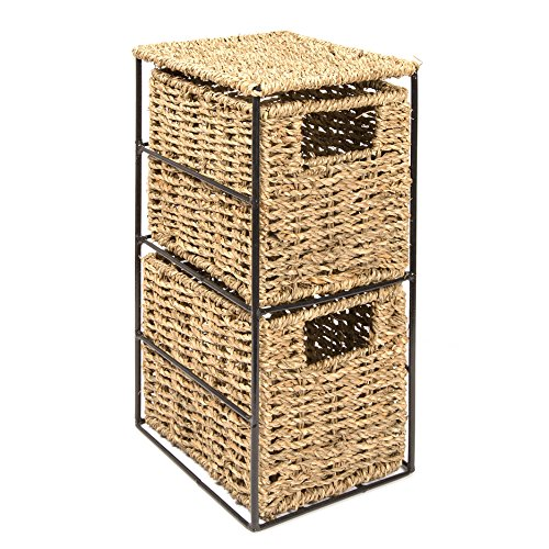 Woodluv 2 Drawer Seagrass Tower Storage Unit  Ideal For Bathroom ,Office,Home(E01 111)
