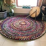 Jai Shri Shyam Contemporary Rug (Multicolour, Cotton Chindi, 90 X 90 Cm)