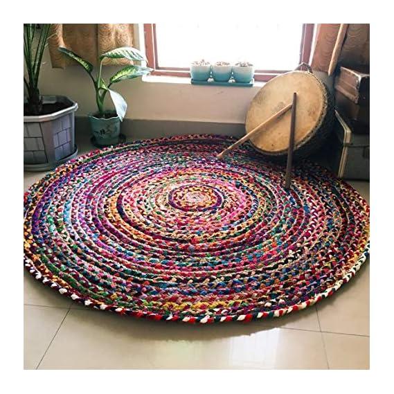 Jai Shri Shyam Cotton Chindi Rug/Door Mat for Home-Natural Eco Yarn-90 cm Diameter