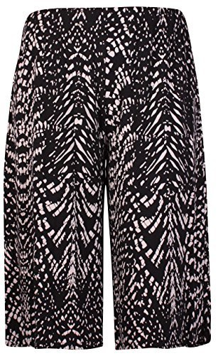 Womens Plus Size Floral Spot Paisley Print Ladies Stretch Elasticated Waist Wide Leg Culottes Shorts