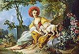 Puzzle 1500 Teile - Gemälde Frau mit Hund sitzend - historische Zeichnung im Park / Garten Mittelalter - Bilder