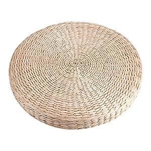 Tondo Cuscino Tatami, 40cm Paglia Naturale Tessitura a Mano Stuoia Cuscino Morbido Usato per Yoga, Meditazione, Adorazione
