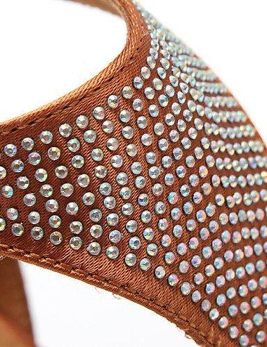 ShangYi Chaussures de danse ( Noir / Autre ) - Non Personnalisables - Talon Cubain - Satin - Latine / Jazz / Moderne / Chaussures de Swing Khaki
