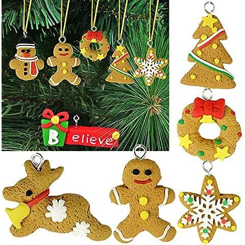 preadvisor (TM) decoración de ornamento colgante 6pcs hermosa polímero arcilla gota colgantes árbol de Navidad bolas Decoración Enfeites De