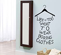 Luke and Lilly Life is Too Short to wear Boring Clothes Wall Sticker(PVC Vinyl, 55 cm x 100 cm)