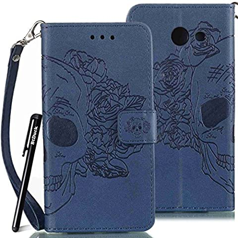 BtDuck Leather Case for Samsung Galaxy J5 2017 inch Navy blue Rose Hair Skull Head Devil Demon Punk PU Stand Embossed Phone Protector PU Leather Flip Folio Cover Anti-slip Skin Outdoor Protection Simple Strict Shockproof Heavy Duty Robust Bumper Case Shell with Stander Oyster Card ( Travel Card Bus Pass)Holder Slots Pocket Kickstand Function Magnetic Closure + 1 * Black Stylus Pen Black