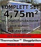 KOMPLETTSET: 4,75m² ALU Gewächshaus, 6mm Hohlkammerstegpl., Stahlfundament, 1 Fenster mit autom. Fensteröffner