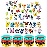 OMZGXGOD 48 pièces Pokémon Mini Figures Action Figurines + 16 pièces Pokémon Bracelets Enfants et Adultes Party Celebration