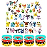 OMZGXGOD - 48 pièces Pokémon Mini Figures Action Figurines + 16 pièces Pokémon Bracelets Enfants et Adultes Party Celebration