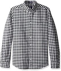 GANT Mens Slim Oxford Gingham Shirt, Black, Large