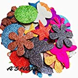 #6: A'SHOP Mixed Shaped Glitter Eva Foam Self Adhesive Big Stickers For Art & Craft, Card Making, Scrapbooking, Paper Decoration, School Crafts for Kids(Set of 48 Pieces)(Size- 5.5cm)