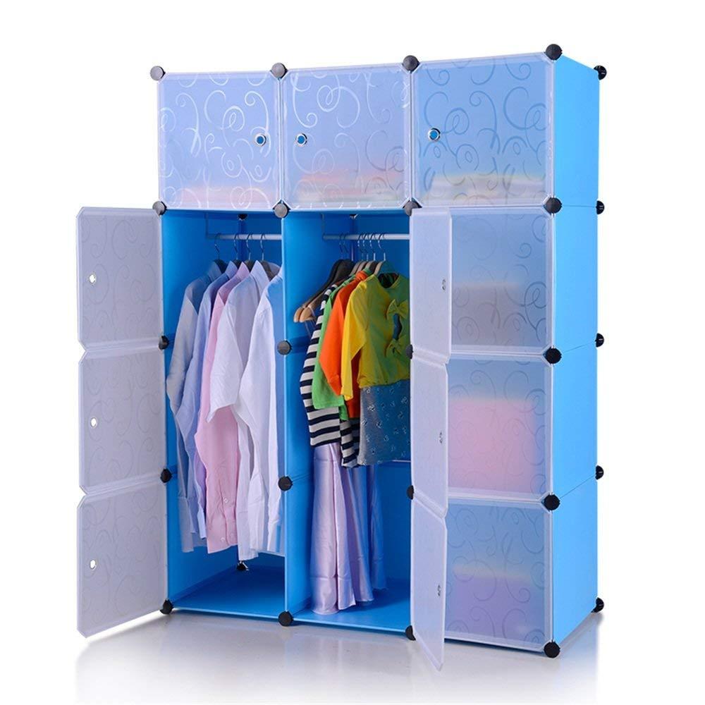 Kleiderschrank aus Kunststoff DIY Regalsystem Garderobenschrank Steckregalsystem Garderoben Steckregal Aufbewahrung, 12 Würfeln mit Türen, Blau 1
