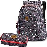 DAKINE 2er SET Rucksack Schulrucksack Laptop FRANKIE + SCHOOL CASE Mäppchen Wallflower II