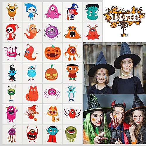 Twister.CK Halloween Temporäre Tattoos für Kinder, 180 stücke Abnehmbare Cartoon Aufkleber Tattoo für Mädchen Jungen Kinder Parteibevorzugungen Beutelfüller, Wasserdicht Body Art Aufkleber Spielzeug (Twister Kostüm Halloween)