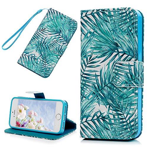 Badalink Hülle für iPhone 5 / iPhone SE Buntes Ballonbär Handyhülle Leder PU Case 3D Cover Magnet Flip Case Schutzhülle Kartensteckplätzen und Ständer Handytasche mit Eingabestifte und Staubschutz Ste Grüne Blätter