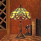 Gweat 12 pulgadas barroco europeo tiffany lámpara de mesa dormitorio de la lámpara de cabecera de la lámpara
