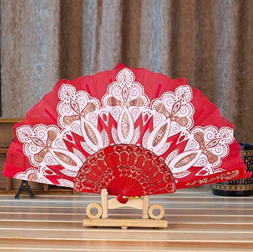 MOTOCO Damen Faltfächer Blumenmuster Seidenfächer Handfächer Eleganter Tanzfächer Hochzeitsdekoration (Kokos Kostüme Muster)